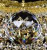 Křišťálový lustr Swarovski 3-patrový 21-ramenný 9LA012SW21 95x107cm zlacený řetěz