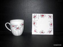 Hrnek s ruční malbou s podtáckem, č.1 dekorační