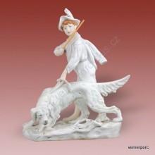 Porcelánová soška - Chlapec se psem 2867 protěž