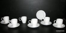 Šálek s podšálkem na kávu, Future, bílý porcelán 6ks