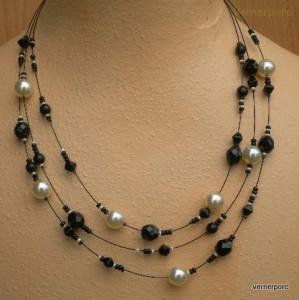 Černo-bílý náhrdelník 3ř.