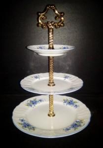 Etažér 3. patrový Bernadotte, porcelán pomněnky