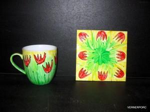 Hrnek ruční malba s podtáckem, č.5 dekorační