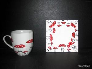 Hrnek s ruční malbou s podtáckem, č.3 dekorační