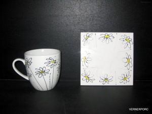Hrnek s ruční malbou s podtáckem č.4 dekorační