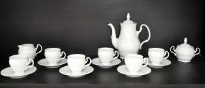 Kávová souprava Bernadotte bílá 15dílná.