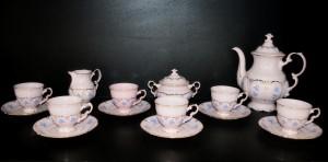 Kávová souprava Sonáta 009 růžová, dekor pomněnky, 15 dílná.