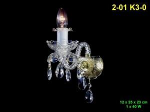 Křišťálové nástěnné svítidlo 1-ramenné 2-01 K3-0 12x25x23cm