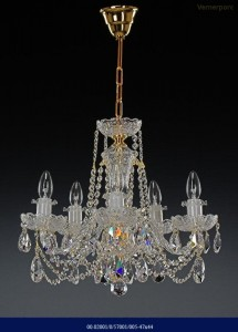 Křišťálový broušený lustr 5-ramenný 02001/57001/005 47x44cm