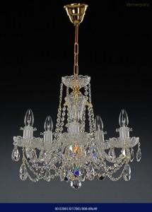 Křišťálový broušený lustr 6-ramenný 02001/57001/006 69x49cm