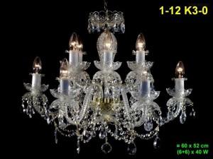 Křišťálový lustr 12-ramenný 1-12 K3-0 60x52cm