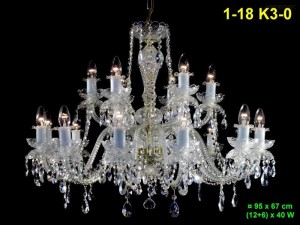 Křišťálový lustr 18-ramenný 1-18 K3-0 95x67cm