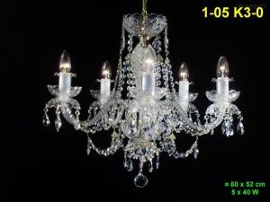 Křišťálový lustr 5-ramenný 1-05 K3-0 60x52cm