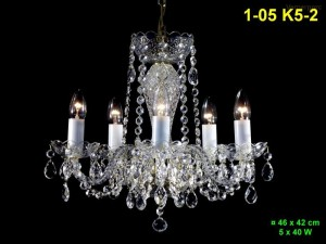 Křišťálový lustr 5-ramenný 1-05 K5-2 46x42cm