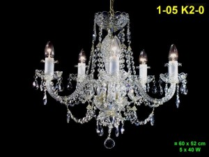 Křišťálový lustr 5-ti ramenný 1-05 K2-0 60x52cm