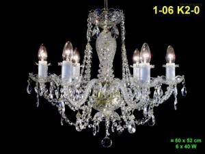 Křišťálový lustr 6-ramenný 1-06 K2-0 60x52cm