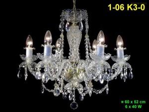 Křišťálový lustr 6-ramenný 1-06 K3-0 60x52cm