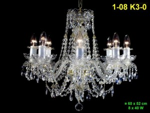 Křišťálový lustr 8-ramenný 1-08 K3-0 60x52 cm