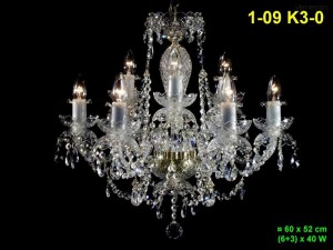 Křišťálový lustr 9-ramenný 1-09 K3-0 60x52cm