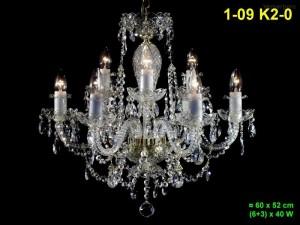 Křišťálový lustr 9-ti ramenný 1-09 K2-0 60x52cm