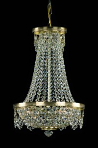Křišťálový lustr brilliant 5PBB118701003 33x55 cm 3 světla, zlacený řetěz