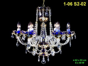 Lustr ze smaltovaného skla 6-ramenný 1-06 S2-02 62x53cm
