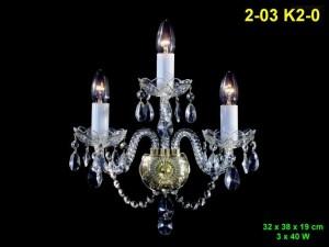Nástěnné křišťálové svítidlo 3-ramenné 2-03 K2-0 32x38x19cm