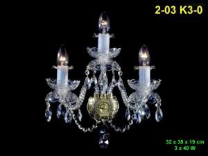 Nástěnné svítidlo křišťálové 3-ramenné 2-03 K3-0 32x38x19cm