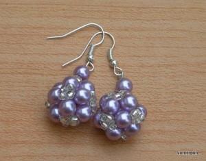 Naušnice z fialových perliček