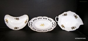 Porcelánová miska na kosti, tác a mísa list, dekor 25312