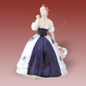 Porcelánová soška - Dáma s kloboukem a růžemi 122 isis
