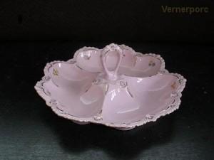 Porcelánový kabaret, růžový porcelán, 24 cm