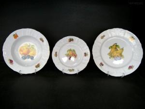 Sada porcelánových talířů Bernadotte, ovoce 18 dílů