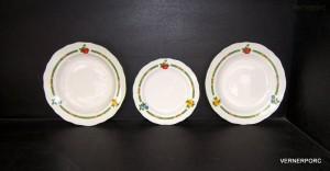 Sada talířů 18-dílná, dekor ovoce, slonová kost
