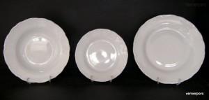 Sada talířů Ofelie, bílý porcelán 18d.