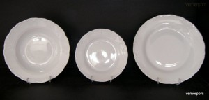 Sada talířů Ofelie / Verona, bílý porcelán 18d.