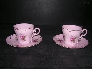 Šálek s podšálkem Ela 303 0,15 l. 2 ks, růžový porcelán