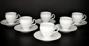 Šálek s podšálkem kávový Bernadotte bílá 6ks 0,15l.