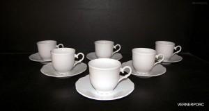 Šálek s podšálkem na kávu, Ofelie, bílá 6ks