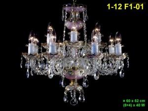 Skleněný lustr 12-ramenný 1-12 F1-01 60x52cm