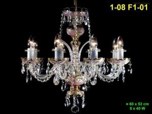 Skleněný lustr 8-ramenný 1-08 F1-01 60x52cm