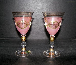 Sklenice fond fialová barva víno 2ks, 200ml.