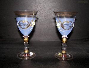Sklenice fond modrá barva víno 2ks. 200ml.