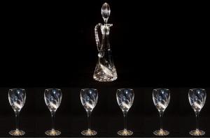 Souprava na víno křišťálová broušená 17003 7 dílná.