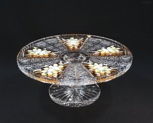 Talíř dortový na noze křišťálový broušený 05007/57113/300 průměr 30 cm.