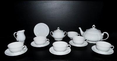 Bílá čajová souprava, porcelán Verona 15. dílná G. Benedikt
