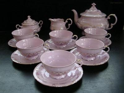 Čajová souprava Sonata z růžového porcelánu Leander Loučky