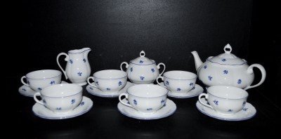 Čajová souprava Verona 673 15 dílná, porcelán modrá házenka Jeremy