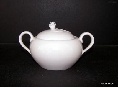 Cukřenka s růžičkou, 0,5l bílý porcelán Český porcelán