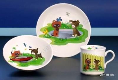 Dětský porcelán Viola 020, pejsek a kočička Moritz Zdekauer